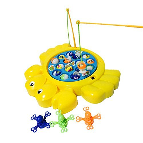 Crab Shaped Musical Electronic Fishing Rod Game Fishes Octopus Ocean Animals with Rotating Board Educational Learning Pretend Toy Play Set for Kids Children Boys Girls 3 4 5 Years Old by FEN JIE by FEN JIE TOYS FACTORY