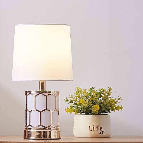 (SOTTAE Modern Style Small Golden Living Room Bedroom Bedside Honeycomb Table Lamp,Desk Lamp with White Fabric Shade)