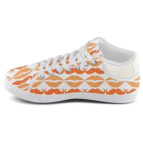 Artsadd Orange Hipster Baffi E Labbra Chukka Scarpe Di Tela Per Uomo (model003)