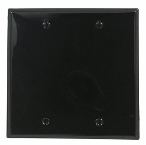 Leviton 80725-E 2-Gang No Device Blank Wallplate, Box Mounted, Ebony