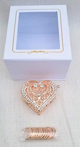 Elegant Arras Coin Set Wedding Rose Gold Sparkle Jewels Romantic Heart Shape Box Boda Doradas Gift Favors with Deluxe Gift Box