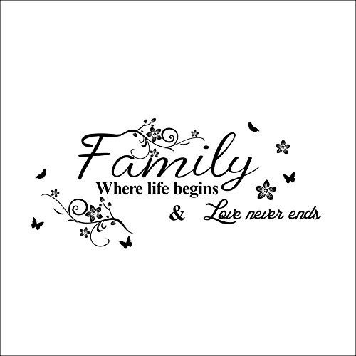 Family Where Life Begins Love Never Ends with Flowers and Butterfly Vinyl Removable Wall Quote Sticker Decal LUCKKYY (Love Never Ends)