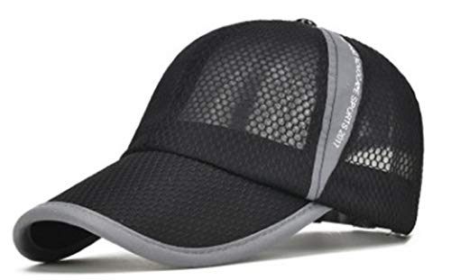 Susclude Men's Outdoor Quick Dry Cap Adjustable Lightweight Mesh Running Hat Dark Grey