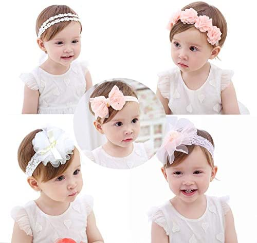Yellow and Blue Floral baby toddler Headband with white eyelet lace rose 12-24 month