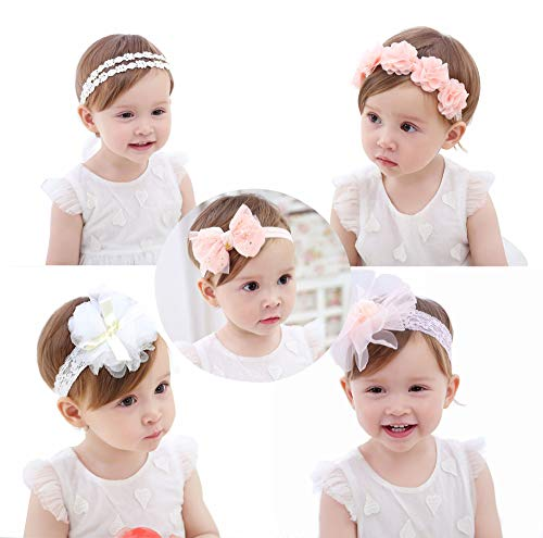 Headband Bow Flower - Baby Girls Headbands, AOKE Chiffon Flower Lace Band Hair Accessories for Newborns, Toddlers and Children