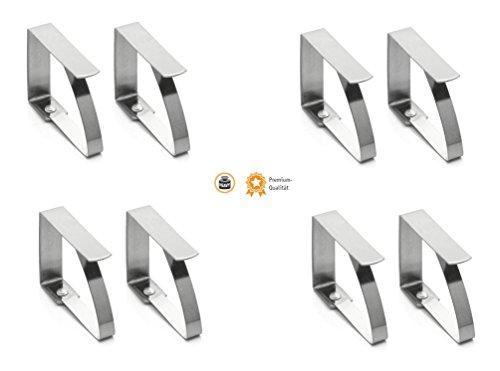 Kerafactum® - 8 Edelstahl Tischtuchklammer Klammer zum befestigen der Tischdecke - Deckenklammer Tuchklammer