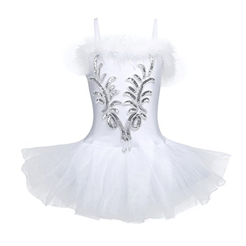 (TiaoBug Girls Sequined Beads Swan Ballet Dance Leotard Spaghtetti Tutu Dress Costume with Gloves Hair Clip White)