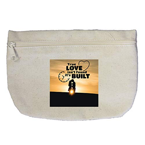 True Love Isn't Found It's Built as Couple in Nature Cotton Canvas Makeup Bag by Style In Print