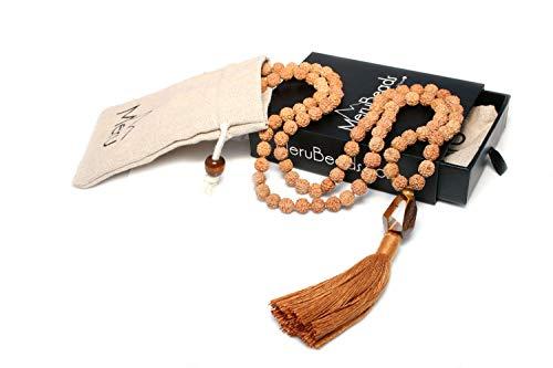 Premium Mala Beads Tiger's Eye & Rudraksha - Mala Beads Necklace - Japa Mala Necklace - Rudraksha Necklace - Tiger's Eye Gemstone Necklace