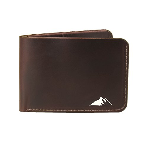 Mens Wallet Minimalist Bifold Horween Chromexcel Leather By Rugged Material (Dark Burgundy)