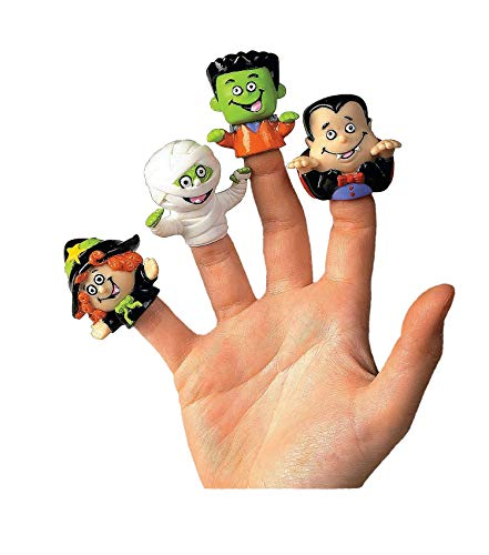 Fun Express Vinyl Halloween Character Finger Puppets | 2-Pack (24 Count) | Great for Party Shows, Decoration, Prizes, and -