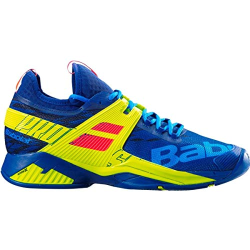 Babolat Men`s Propulse Rage All Court Tennis Shoes Blue and Fluo Aero (9.5)