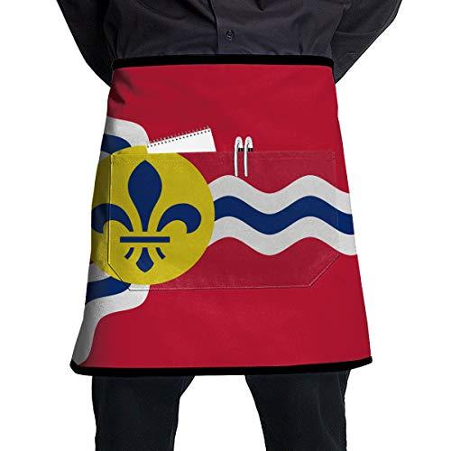 Apron St Louis - COKKI Flag of St. Louis Kitchen Cooking Apron for Women and Men,Apron with Convenient Pocket Commercial Restaurant Home