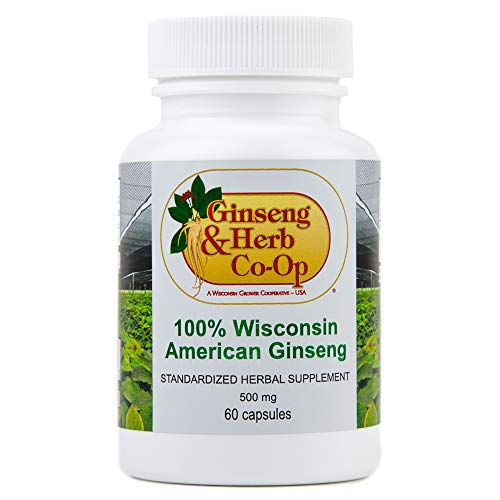 100% Pure Wisconsin American Ginseng Capsules - 500mg. Authentic Panax Quinquefolius. Potent Ground Ginseng Root - No Fillers, Binders or Other Additives.