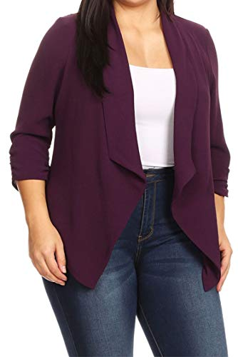 - Solid Casual Plus Size Loose Fit Draped Cardigan Blazer Jacket/Made in USA Plum 2XL