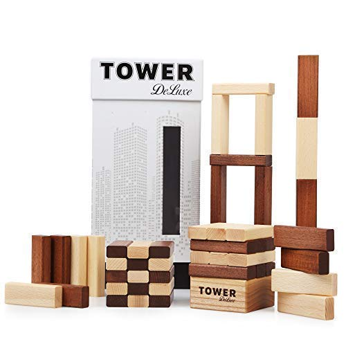 Tower Deluxe Classic Stacking Board Game _ Premium Hardwood Block Game _ Excellent For Adults Drinking Party and Fun Family Activity