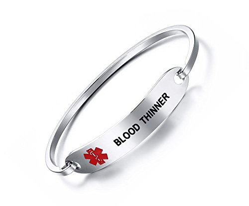 Mealguet Jewelry BLOOD THINNER-Medical Alert ID Oval Fit Bangle Bracelets for Ladies with Black Deep Engraving