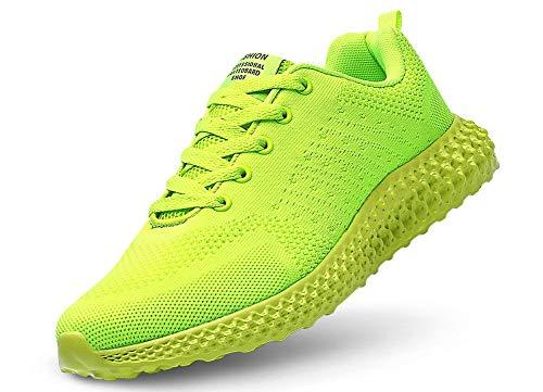 JIYE Men's and Women's Athletic Walking Running Shoes Comfortable Lightweight Sneaker,Yellow,41EU=8US-Men/9.5US-Women