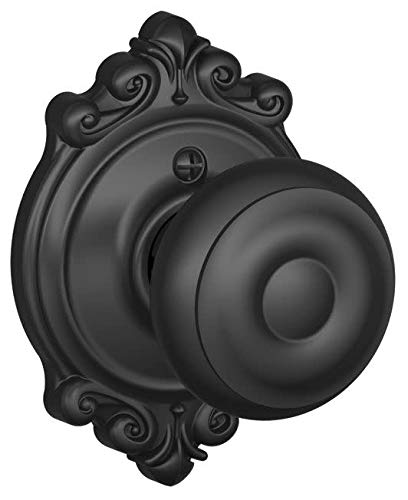 Schlage F170 GEO 622 BRK Brookshire Collection Georgian Decorative Single Trim Knob, Matte Black