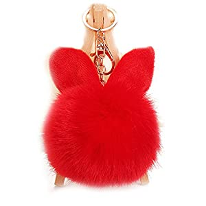 URSFUR Artificial Rabbit Fur Ball Keychain Ear Pompom Phone Bag Charm Pendant