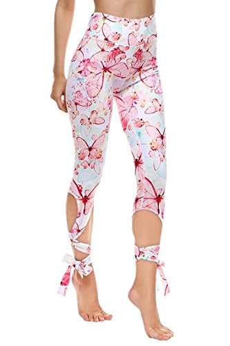 COOleggings Ladies Butterfly Print Elastic Waist Yoga Capri Tights Light Pink S