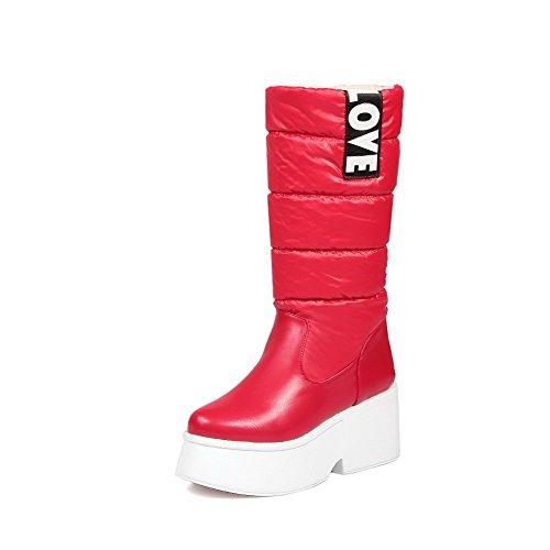 AgooLar Damen Rein Hoher Absatz Ziehen auf Rund Zehe Stiefel mit Knoten, Rot, 36