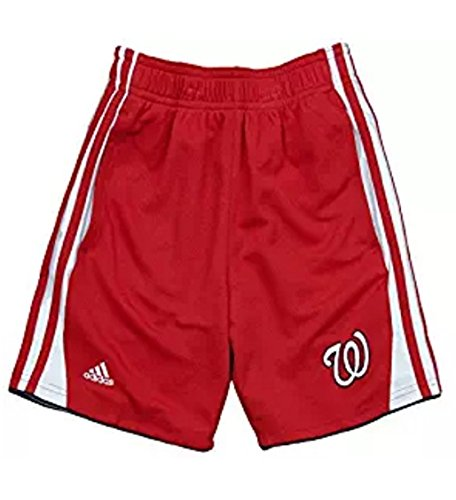 adidas Washington Nationals MLB Little Boys 3-Stripe Shorts - Red (Large ()