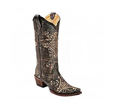 Corral Women's L5048 Scroll Embroidery Black Western Boots 5 M