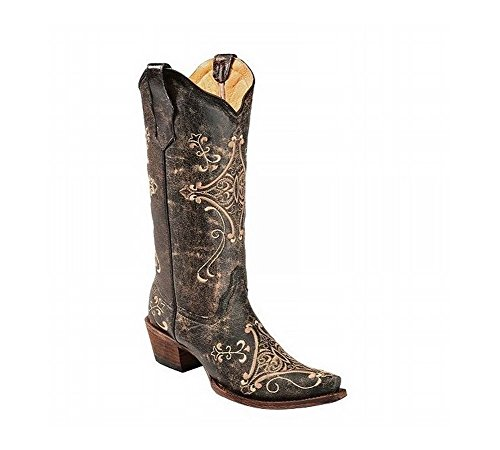G Circle Scroll Crackle Black Corral Embroidered Bone Western Boot Crackle Bone Women's E1wqw5H