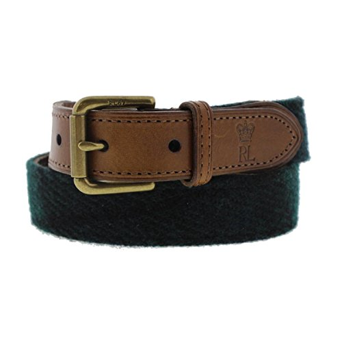 (Polo Ralph Lauren Black Watch Tweed & Leather Belt, Size 36)