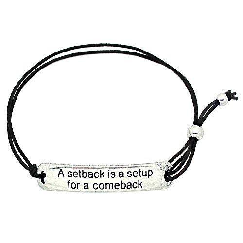 (KIS-Jewelry A Setback is A Setup for A Comeback' Inspirational Stretch Bracelet - One Size Fits All Motivational Bracelet with Engraved Plaque & Black)