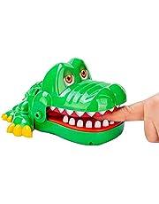 N.S Grappige krokodil bijten vinger speelgoed met pakket, draagbare gags speelgoed mini grootte hongerige krokodil tandarts spel familie games voor kinderen kinderen cadeau geschikt,groen