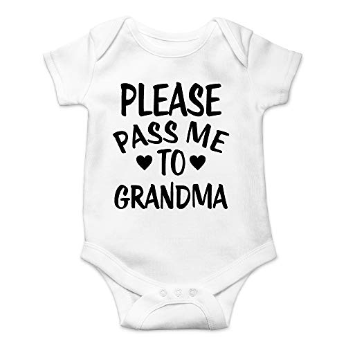 CBTwear Please Pass Me to Grandma - My Grandmother Loves Me - Cute Infant One-Piece Baby Bodysuit (6 Months, White)