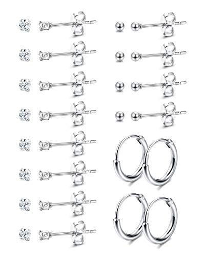 Yadoca 8 Pairs Tiny Stainless Steel Earrings for Women Girls Round Clear Cubic Zirconia Ball Hoop Earrings Set