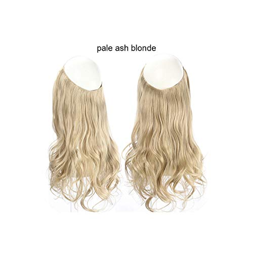 Wave Halo Hair Extensions Invisible Ombre Bayalage Synthetic Natural Flip Hidden Secret Wire Crown Grey Pink,Pale Ash Blonde,18Inches -