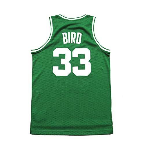 Youth Bird Jersey Kids Basketball 33 Larry Boston Throwback Stitched Boys Sizes Green (Green, Youth Small 8)