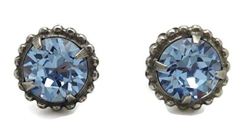 SORRELLI Light Blue Round Cut Antique Silvertone Post Stud (Sorrelli Designer Earrings)