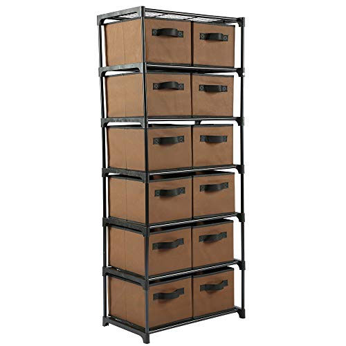 Function Home 12-Drawer Chest Chest of Drawers 6 Tier Storage Organizer Tower Storage Unit Metal Shelf with 12 Removable Fabric Bins Ideal for Home Office Dorm Bedroom in Brown (Drawers Small Wicker)