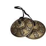 Dharma Store - Tibetan Tingsha Cymbals - 6.2 cm - OM Mane Padme Hum Symbols Embossed