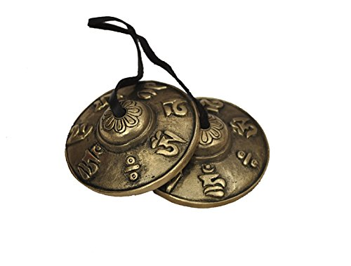 Dharma Store - Tibetan Tingsha Cymbals - 6.6 cm - OM Mane Padme Hum Symbols Embossed