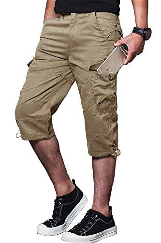 MAKEIIT Men's Belted Cargo Shorts 4XL Cargo Shorts Camp Cargo Shorts with Multi-Pocket ()