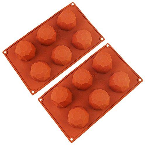 QELEG 2 Pack Silicone 6-Cavity Diamond, Jelly, Soap, Baking Mold, BPA Free, Non-Stick European-Grade Silicone, 11.4