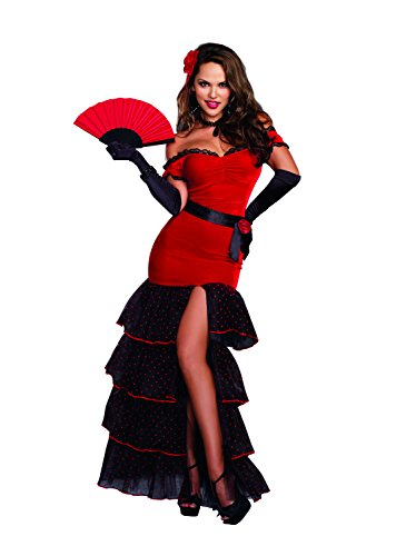 Dreamgirl Women's Flamenco Spanish Dancer Costume, Red/Black, Large]()