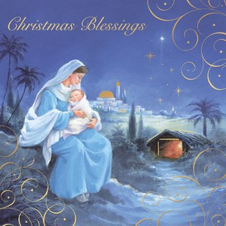 Box 12 Square Religious Christmas Cards with Gold Foil 2 Designs ...