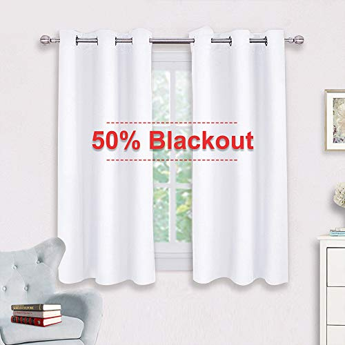 (NICETOWN Window Draperies Curtains Panels - Blocking Out 50% Sunlight Curtains, Grommet Top Small Window Drapes for Bedroom (2 Panels, 42 by 45, White))