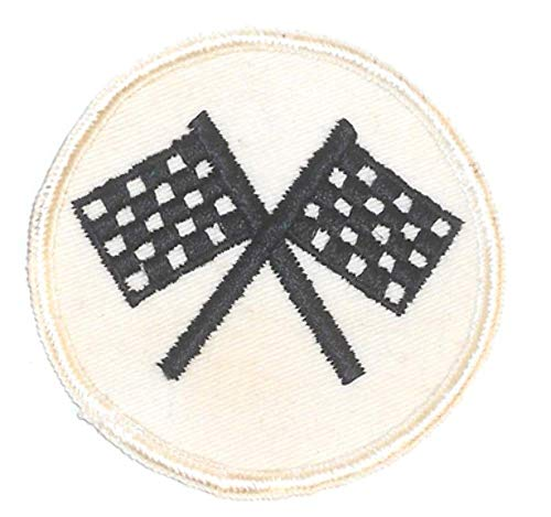 Vintage Embroidered Sew On Cloth Patch - Crossed Racing Checkered Flags