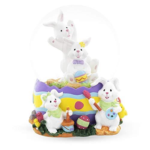 BestPysanky Bunnies Decorating Easter Eggs Snow Globe
