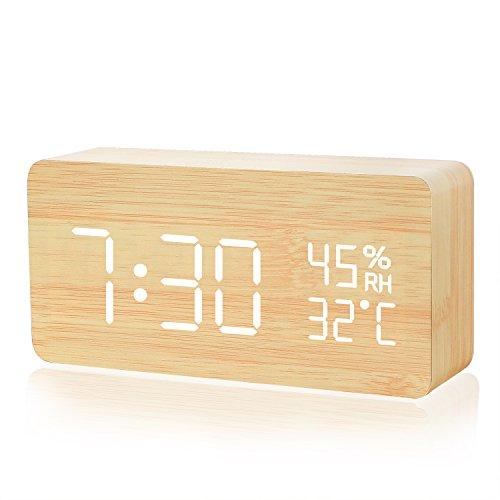 자명종,Galopar 탁상시계 대음량 음성 감지 디지탈 멋쟁이 LED 다기능 알람 캘린더 온도 습도 우드 그레인 에너지 절약 탁상 침실 부엌용 선물