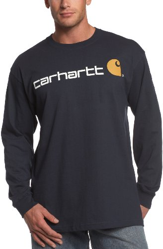 (Carhartt Men's Signature Logo Midweight Jersey Long Sleeve T-Shirt,Navy,XX-Large )