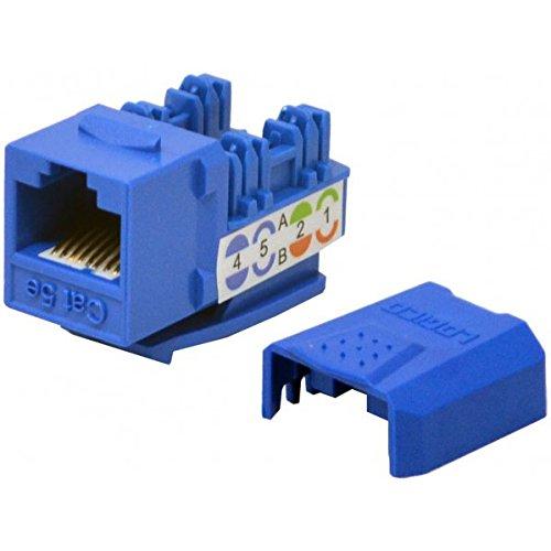 Keystone Jack CAT5E Blue Network Ethernet 110 Punchdown 8P8C RJ45 (Idc Coupler)